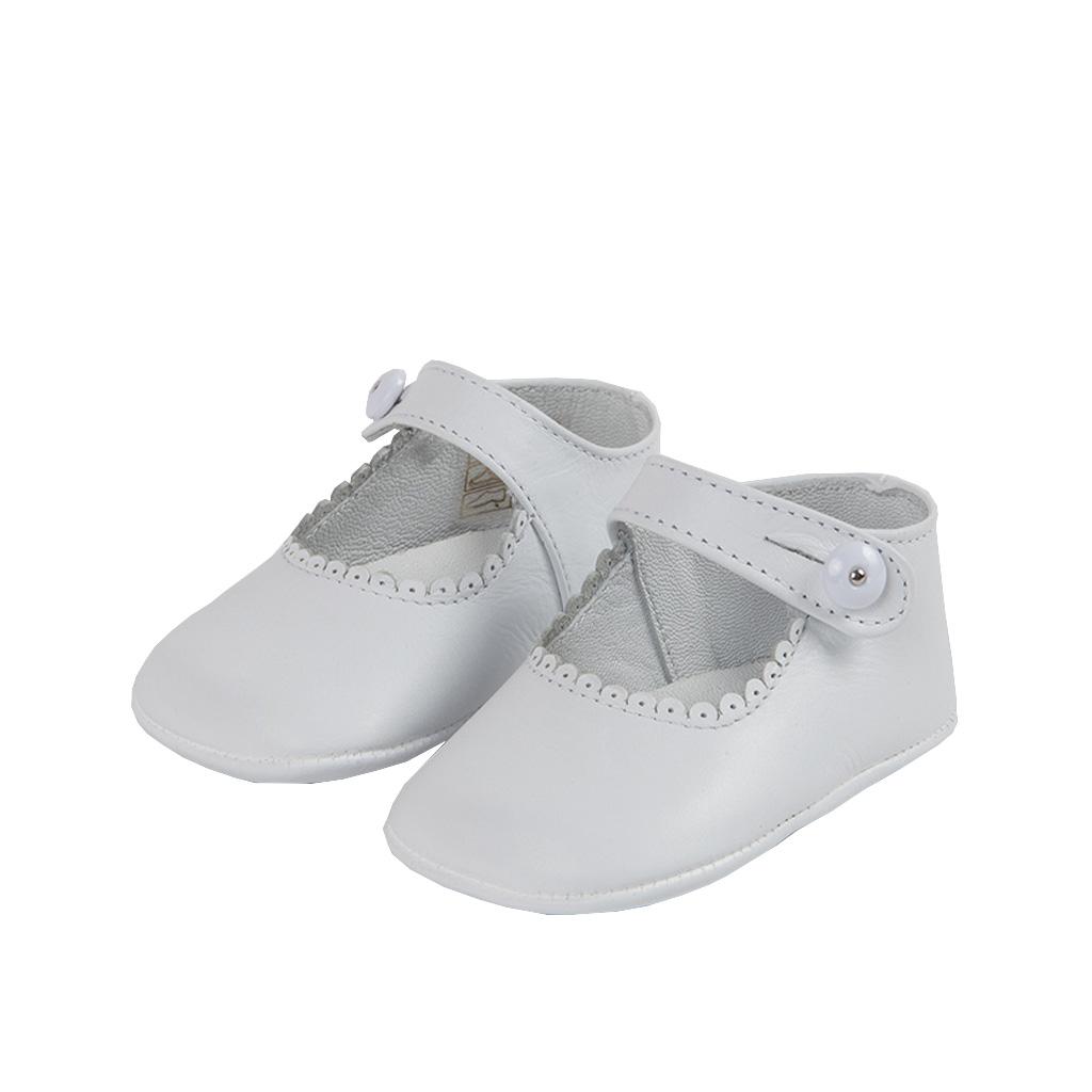 da079de7 Zapatos bebe mercedita blanco de piel